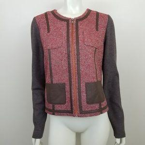 Hinge Wool Blend Tweed Faux Leather Vegan Jacket